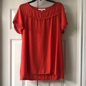 Short sleeved orange Loft maternity top